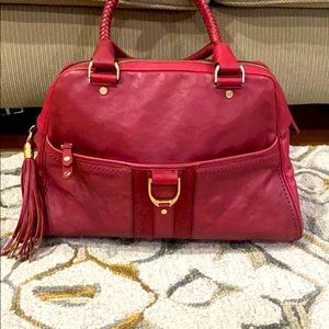 💕 Cole haan red leather xl braided satchel nice💕